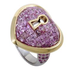 Pink Sapphire Pave White and Yellow Gold Keyhole Heart Ring