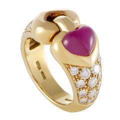 Bulgari Cabochon Ruby Diamond Yellow Gold Ring