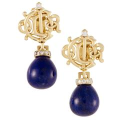 Dior Lapis Diamond Yellow Gold Clip-On Earrings