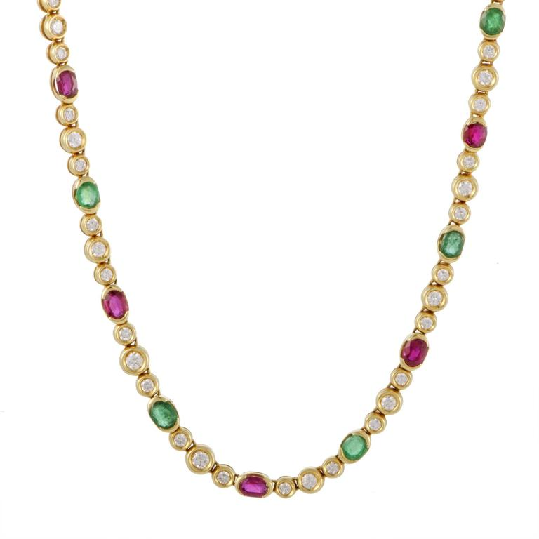 Fred of Paris Diamond Emerald and Ruby Yellow Gold Necklace