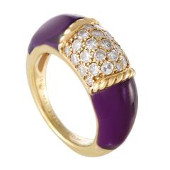 Van Cleef & Arpels Diamond Pave Amethyst Yellow Gold Band Ring