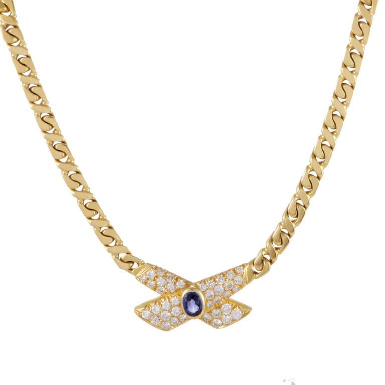 Van Cleef & Arpels Sapphire Diamond Pave Yellow Gold Collar Necklace