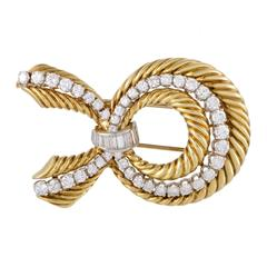 Van Cleef & Arpels Diamond Yellow and White Gold Bow Brooch