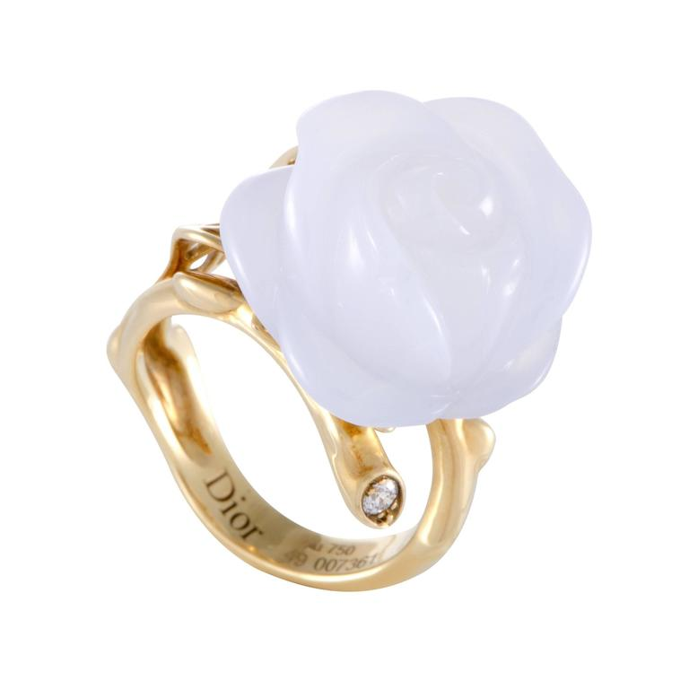 Dior Pre Catelan Diamond and Blue Chalcedony Rose Ring