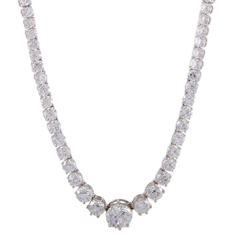 Diamond and White Gold Collar Necklace For Sale