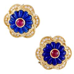 Harry Winston Diamond Ruby Lapis Lazuli Flower Earrings