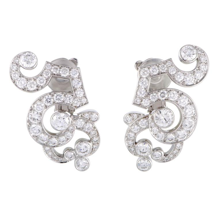 Cartier Dentelle Full Diamond Pave Platinum Clip-On Earrings