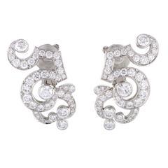 Cartier Dentelle Full Diamond Pave Platinum Clip-On Earrings