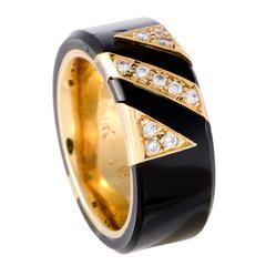 Van Cleef & Arpels Diamond and Onyx Yellow Gold Band Ring