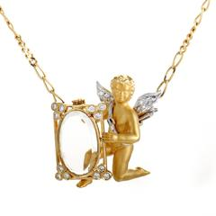 Carrera y Carrera Diamond , Smoky Quartz and Cherub Gold Pendant Necklace