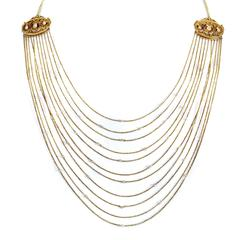 Multiple Strand Gold Pearl Necklace