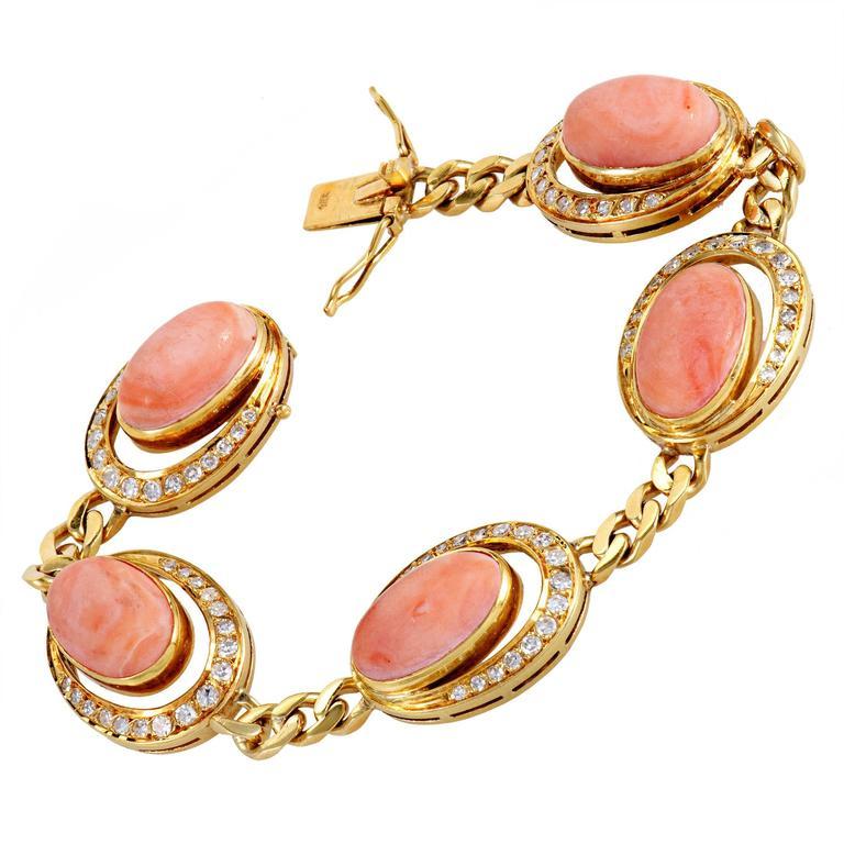 Coral Diamond Gold Bracelet