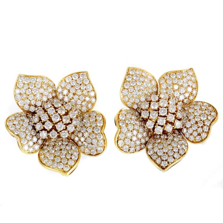 Diamond Pave Yellow Gold Flower Earrings For