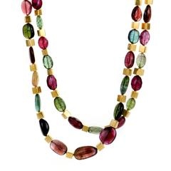 Multiple Color Tourmaline and Yellow Gold Double Strand Necklace