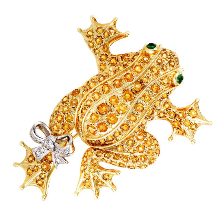 Diamond Yellow Sapphire and Emerald Yellow and White Gold Frog Brooch
