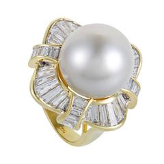 Diamond Baguette and Pearl Yellow Gold Ring