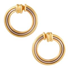 Cartier Yellow White and Rose Gold Large Circle Clip-On Earrings