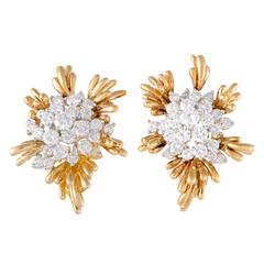 Kurt Wayne Yellow and White Gold Diamond Cluster Huggie Earrings