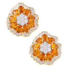 Yellow Sapphire Diamond Gold Large Earrings
