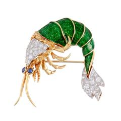 Green Enamel Gold Diamond Sapphire Shrimp Brooch