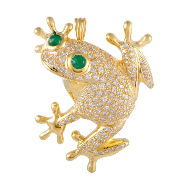 Gold Diamond Pave and Emerald Frog Pendant or Brooch For Sale