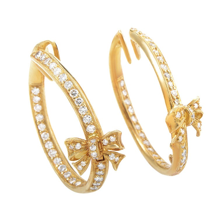Ponte Vecchio Diamond Gold Bow Hoop Clip-On Earrings