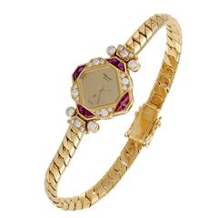 Chopard Ladies Yellow Gold Diamond Ruby Wristwatch