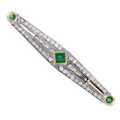 Gold Diamond and Emerald Long Brooch