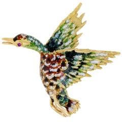 Enameled Gold Ruby Duck Brooch