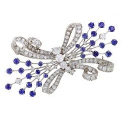 Diamond Pave and Sapphire Bow Brooch