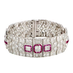 Diamond and Ruby Pave Platinum Bracelet