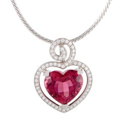 Breguet Diamond and Tourmaline Heart White Gold Pendant Necklace