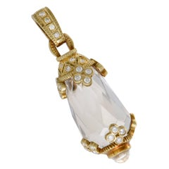 Judith Ripka Diamond and White Quartz Yellow Gold Enhancer Pendant
