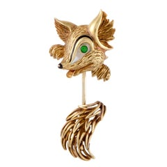 Cartier Enameled Yellow Gold Fox Pin