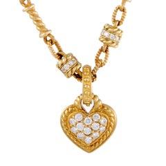 Judith Ripka Diamond Pave Heart Gold Pendant Necklace
