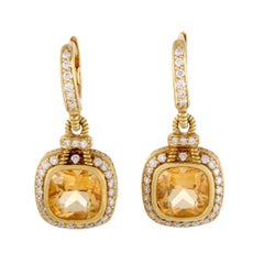 Judith Ripka Diamond and Citrine Gold Drop Earrings