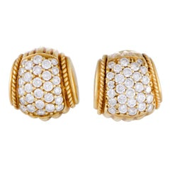 Judith Ripka Diamond Pave Wide Huggie Yellow Gold Earrings