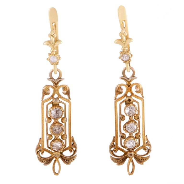 Diamond Yellow Gold Dangle Earrings 1