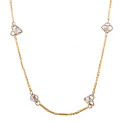 Diamond Yellow and White Gold Sautoir Necklace