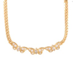 Van Cleef & Arpels Diamond and Yellow Gold Butterfly Choker Necklace