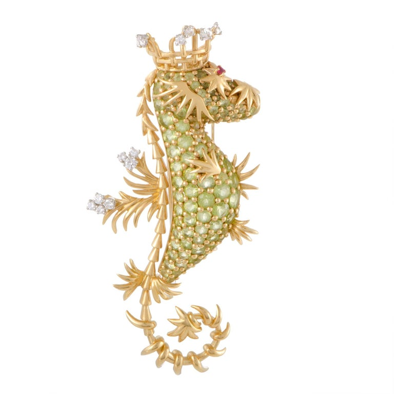 Tiffany & Co. Schlumberger Peridot Diamond Ruby Gold Seahorse Pendant Brooch 1