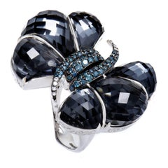 Stephen Webster Forget Me Knot Blue Diamond Hematite and Quartz White Gold Ring