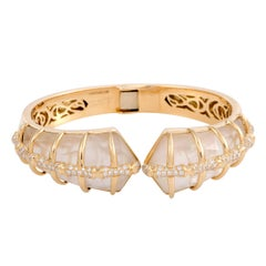 Stephen Webster Jewels Verne Diamond Mother-of-Pearl and Quartz Gold Bangle