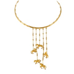 Carrera y Carrera Ecuestre Diamond and Gold Dangling Horses Choker Necklace