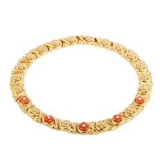 Chaumet Diamond Coral Yellow Gold Flower Collar Necklace