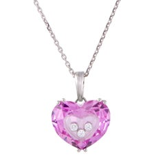 Chopard So Happy Floating Diamonds and Pink Crystal Heart Gold Pendant Necklace