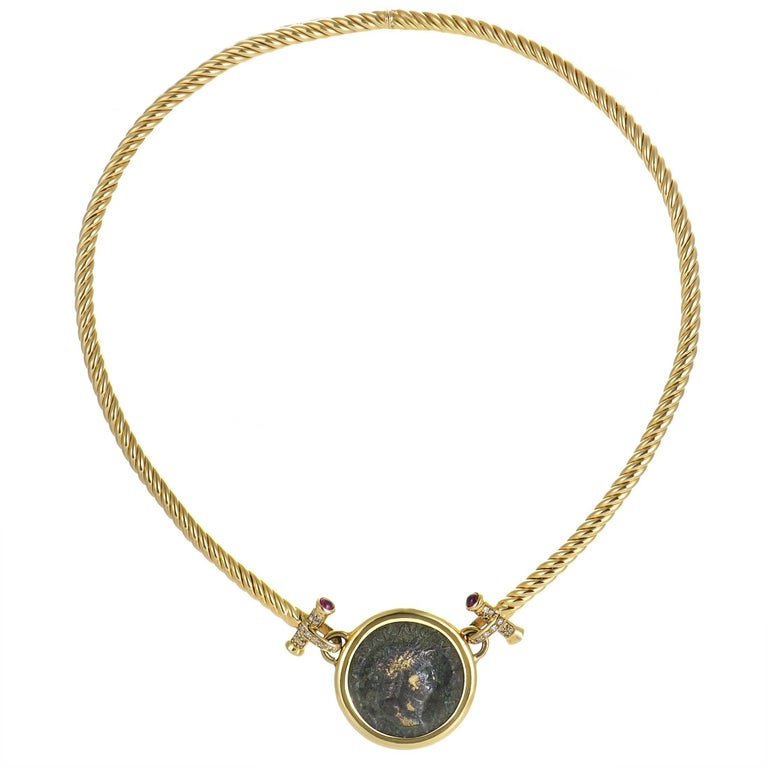 Diamond and Ruby Yellow Gold Ancient Coin Pendant Necklace
