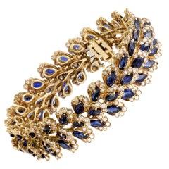 Diamond and Sapphire Yellow Gold Bracelet