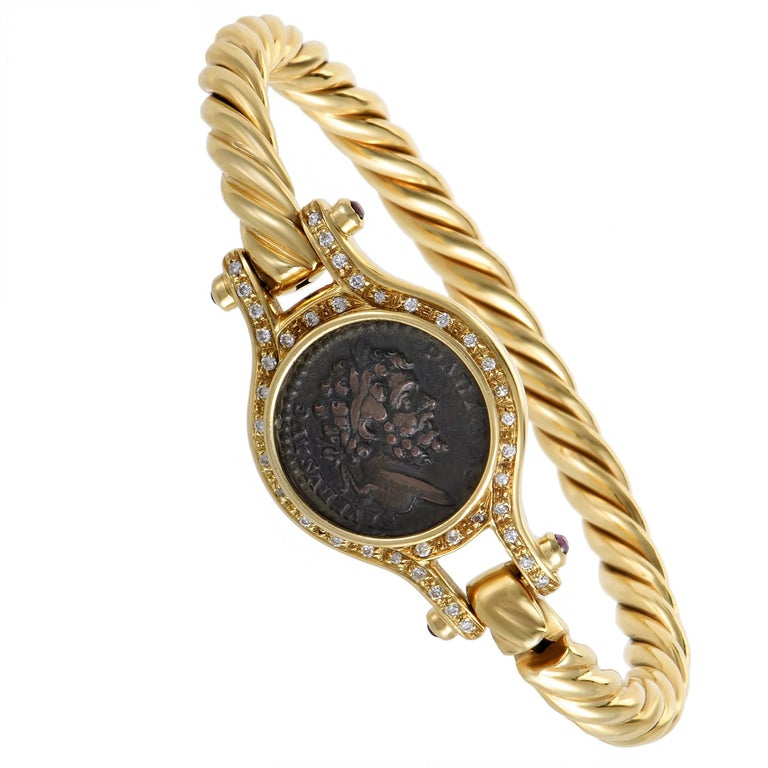 Diamond and Ruby Ancient Coin Yellow Gold Bangle Bracelet