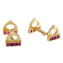 Cartier Ruby Yellow Gold Cufflinks